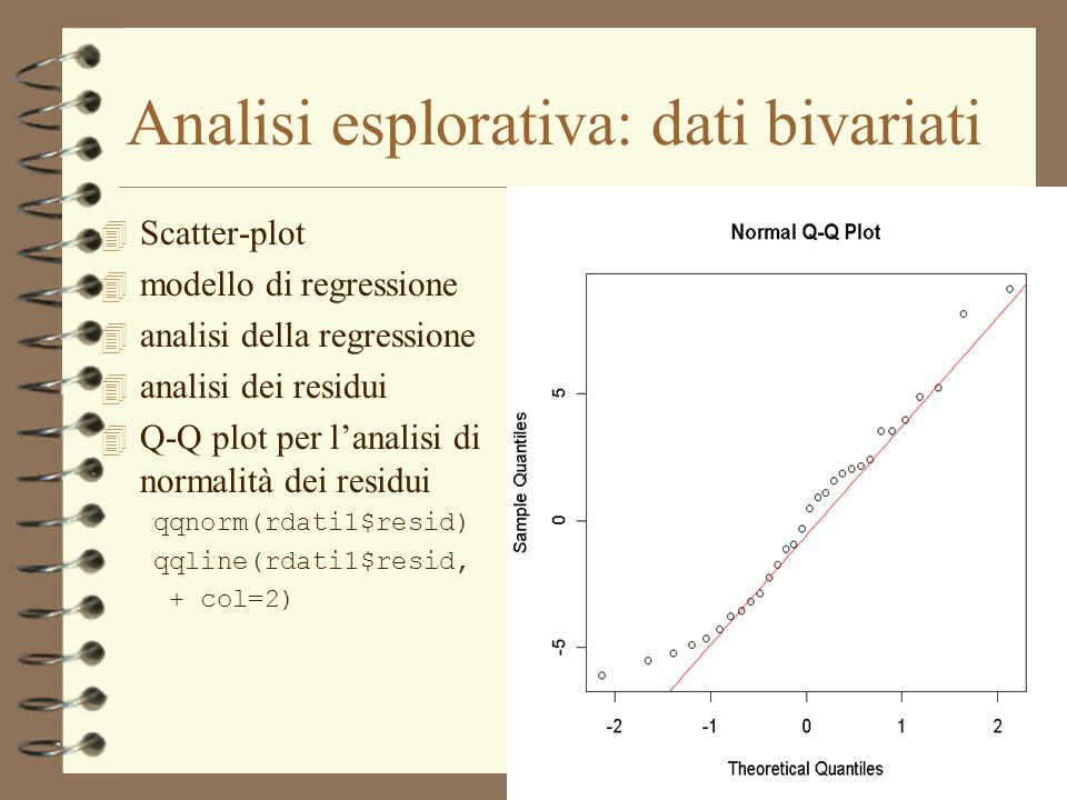 Analisi esplorativa: dati bivariati 4 Scatter-plot 4 modello di regressione 4 analisi della regressione 4 analisi dei residui 4 Q-Q plot per l'analisi di normalità dei residui qqnorm(rdati1$resid) qqline(rdati1$resid, + col=2)