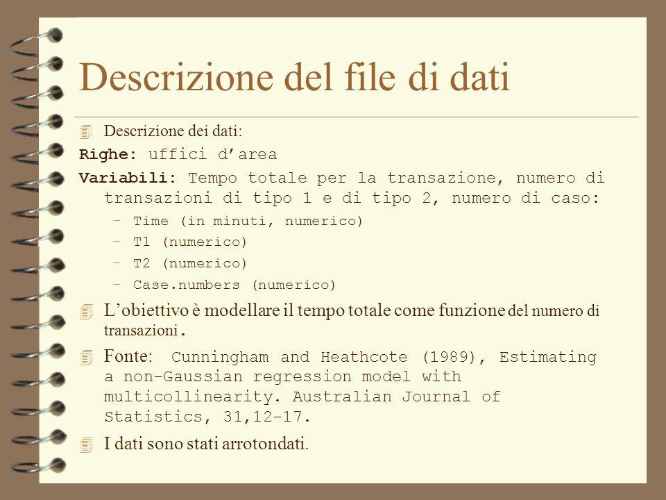 Descrizione del file di dati 4 Descrizione dei dati: Righe: uffici d'area Variabili: Tempo totale per la transazione, numero di transazioni di tipo 1 e di tipo 2, numero di caso: –Time (in minuti, numerico) –T1 (numerico) –T2 (numerico) –Case.numbers (numerico)  L'obiettivo è modellare il tempo totale come funzione del numero di transazioni.