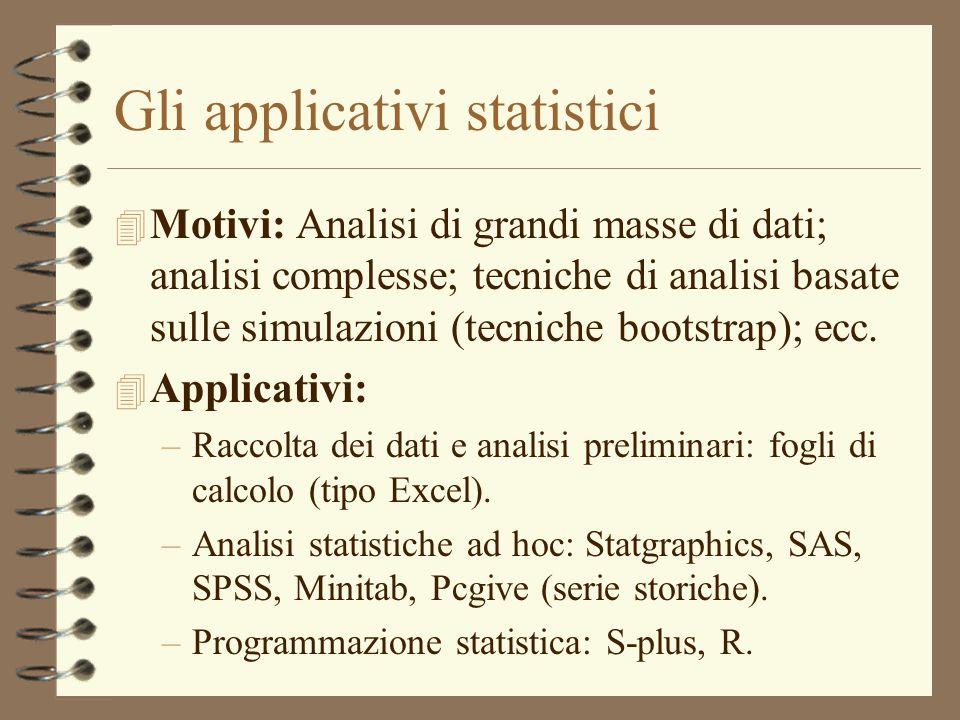 Gli applicativi statistici 4 Motivi: Analisi di grandi masse di dati; analisi complesse; tecniche di analisi basate sulle simulazioni (tecniche bootst