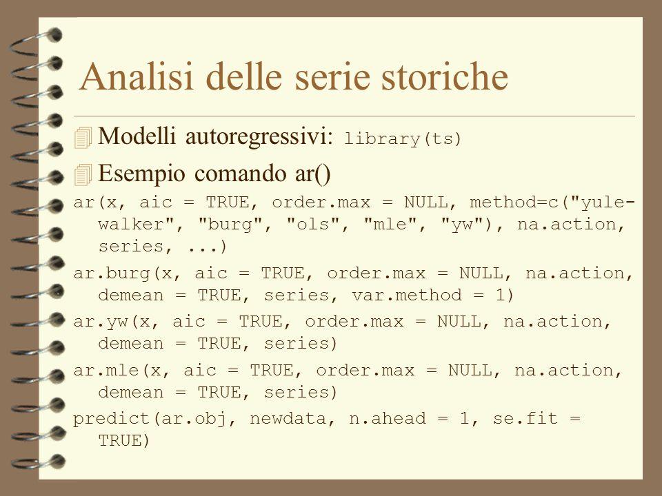 Analisi delle serie storiche  Modelli autoregressivi: library(ts) 4 Esempio comando ar() ar(x, aic = TRUE, order.max = NULL, method=c(