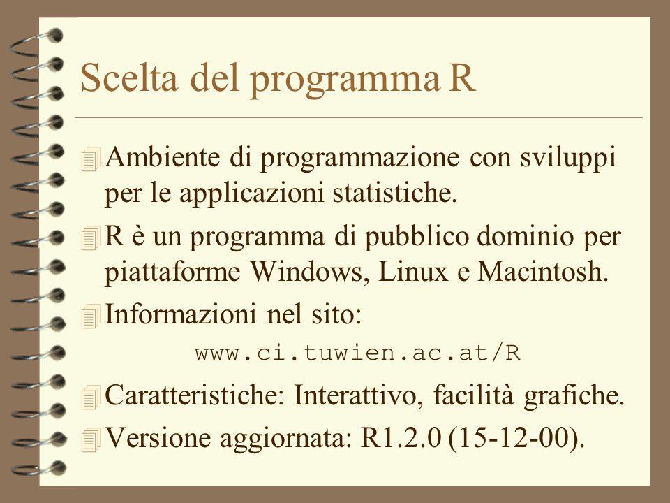 Scelta del programma R 4 Ambiente di programmazione con sviluppi per le applicazioni statistiche. 4 R è un programma di pubblico dominio per piattafor