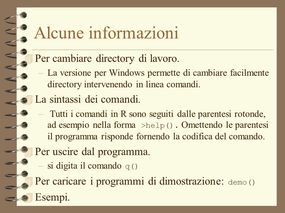 Alcune informazioni 4 Per cambiare directory di lavoro. –La versione per Windows permette di cambiare facilmente directory intervenendo in linea coman