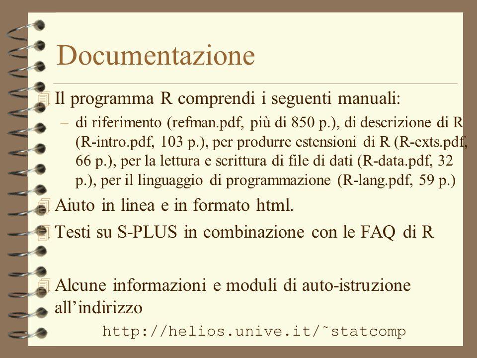 Documentazione 4 Il programma R comprendi i seguenti manuali: –di riferimento (refman.pdf, più di 850 p.), di descrizione di R (R-intro.pdf, 103 p.), per produrre estensioni di R (R-exts.pdf, 66 p.), per la lettura e scrittura di file di dati (R-data.pdf, 32 p.), per il linguaggio di programmazione (R-lang.pdf, 59 p.) 4 Aiuto in linea e in formato html.