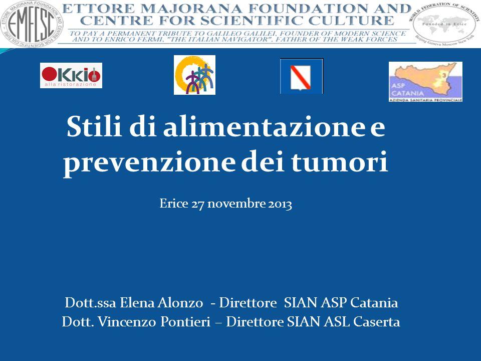 Dott.ssa Elena Alonzo - Direttore SIAN ASP Catania Dott. Vincenzo Pontieri – Direttore SIAN ASL Caserta Stili di alimentazione e prevenzione dei tumor