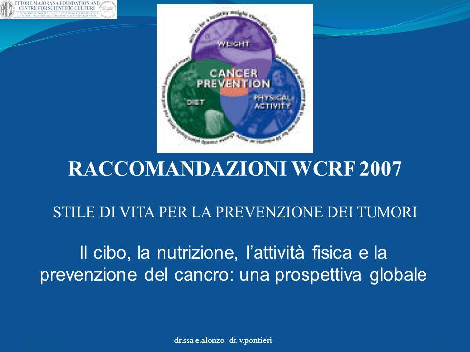 RACCOMANDAZIONI WCRF 2007 STILE DI VITA PER LA PREVENZIONE DEI TUMORI Il cibo, la nutrizione, l'attività fisica e la prevenzione del cancro: una prosp
