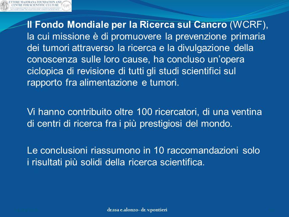 Il Fondo Mondiale per la Ricerca sul Cancro (WCRF), la cui missione è di promuovere la prevenzione primaria dei tumori attraverso la ricerca e la divu