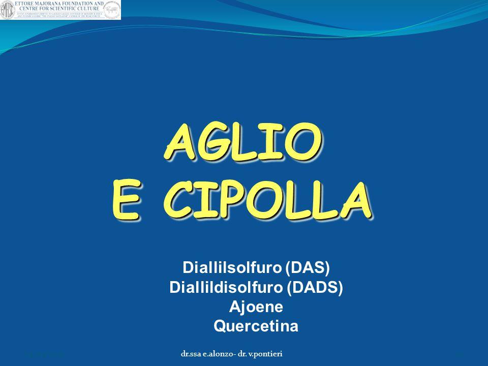 AGLIO E CIPOLLA Diallilsolfuro (DAS) Diallildisolfuro (DADS) Ajoene Quercetina 04/04/2015dr.ssa e.alonzo- dr. v.pontieri17
