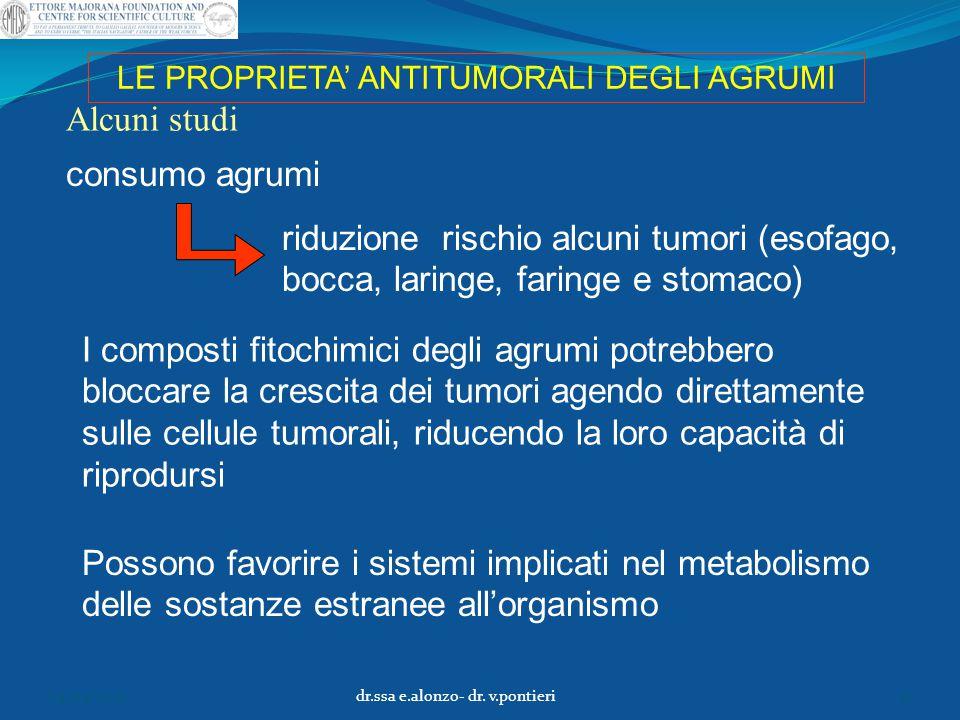 LE PROPRIETA' ANTITUMORALI DEGLI AGRUMI Alcuni studi I composti fitochimici degli agrumi potrebbero bloccare la crescita dei tumori agendo direttament