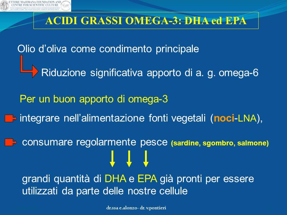 ACIDI GRASSI OMEGA-3: DHA ed EPA Olio d'oliva come condimento principale Per un buon apporto di omega-3 integrare nell'alimentazione fonti vegetali (n