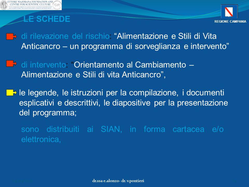 """di rilevazione del rischio: """"Alimentazione e Stili di Vita Anticancro – un programma di sorveglianza e intervento"""" sono distribuiti ai SIAN, in forma"""