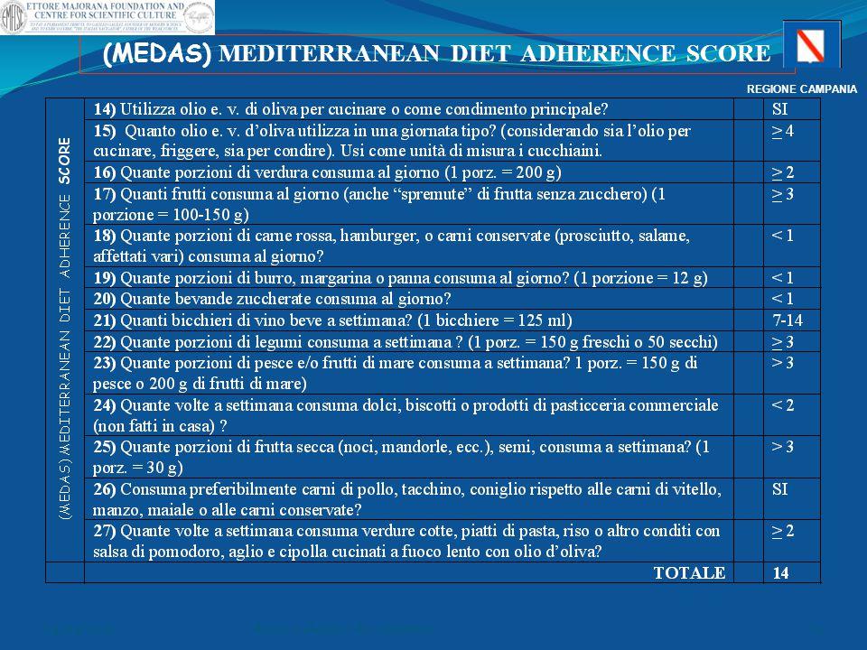 (MEDAS) MEDITERRANEAN DIET ADHERENCE SCORE REGIONE CAMPANIA 04/04/2015dr.ssa e.alonzo- dr. v.pontieri75
