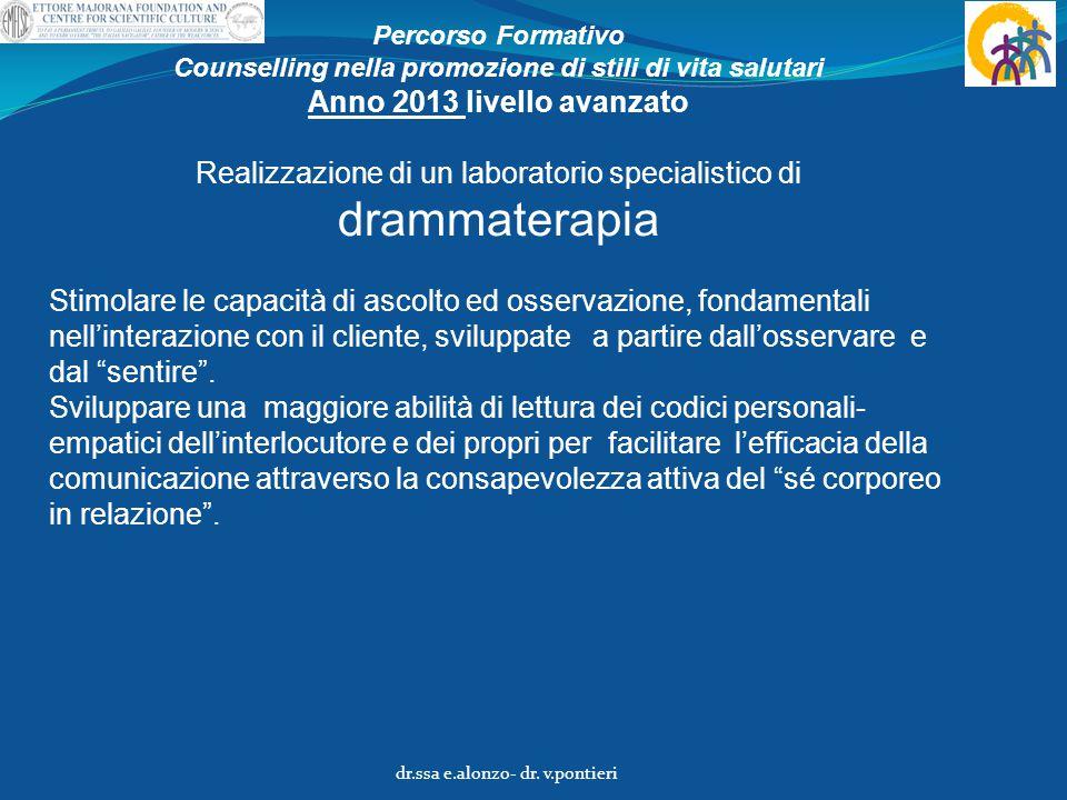 Percorso Formativo Counselling nella promozione di stili di vita salutari Anno 2013 livello avanzato Realizzazione di un laboratorio specialistico di
