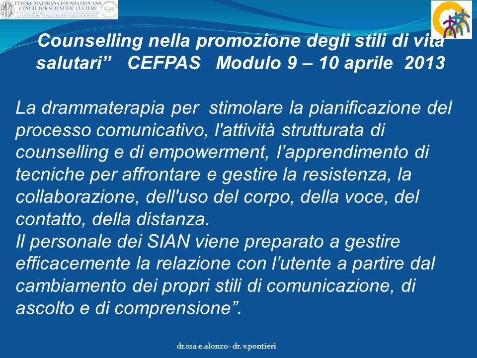 """Counselling nella promozione degli stili di vita salutari"""" CEFPAS Modulo 9 – 10 aprile 2013 La drammaterapia per stimolare la pianificazione del proce"""