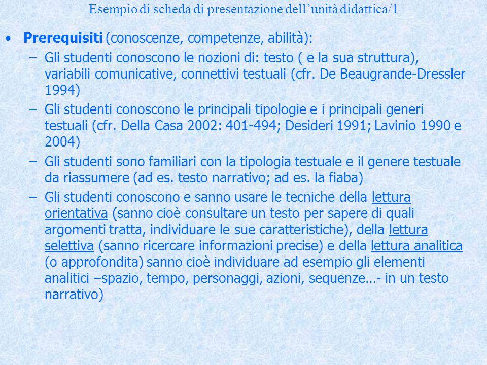 Esempio di scheda di presentazione dell'unità didattica/1 Prerequisiti (conoscenze, competenze, abilità): –Gli studenti conoscono le nozioni di: testo