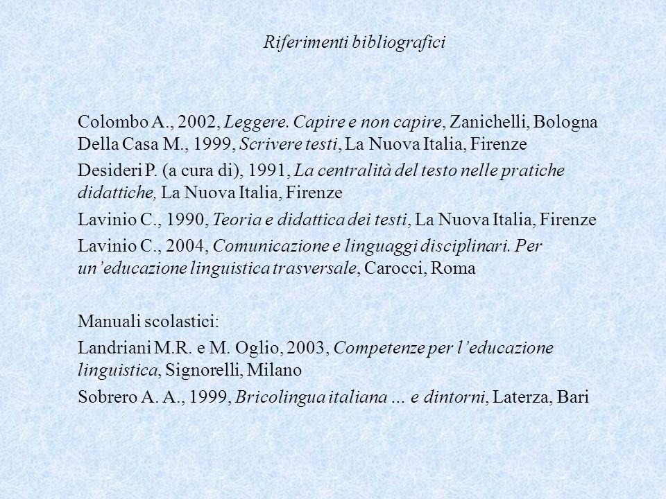 Riferimenti bibliografici Colombo A., 2002, Leggere. Capire e non capire, Zanichelli, Bologna Della Casa M., 1999, Scrivere testi, La Nuova Italia, Fi