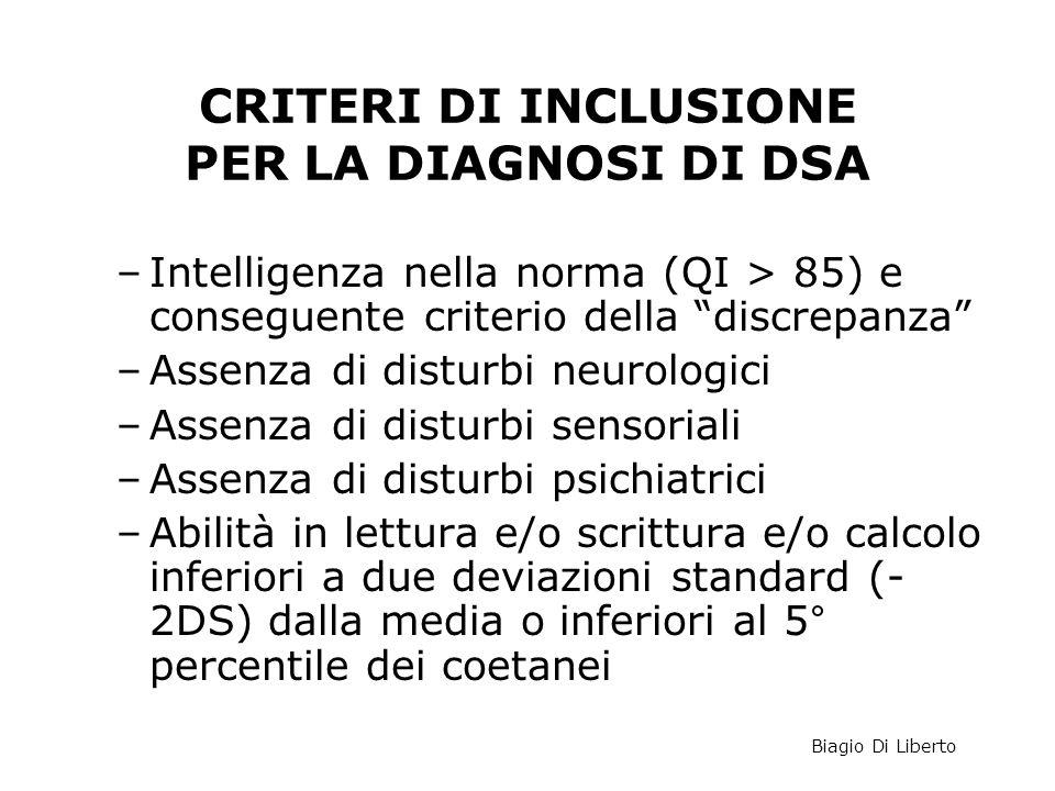 """CRITERI DI INCLUSIONE PER LA DIAGNOSI DI DSA –Intelligenza nella norma (QI > 85) e conseguente criterio della """"discrepanza"""" –Assenza di disturbi neuro"""