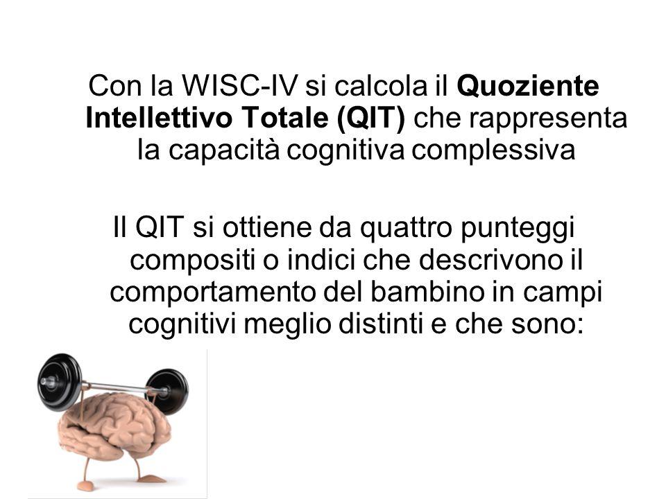 Con la WISC-IV si calcola il Quoziente Intellettivo Totale (QIT) che rappresenta la capacità cognitiva complessiva Il QIT si ottiene da quattro punteg