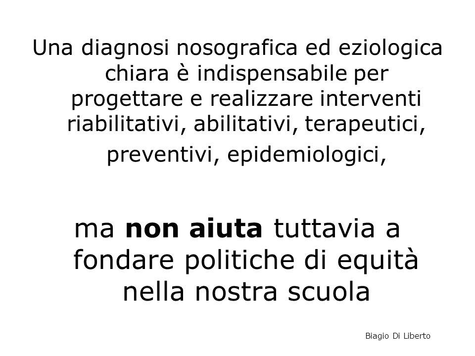Una diagnosi nosografica ed eziologica chiara è indispensabile per progettare e realizzare interventi riabilitativi, abilitativi, terapeutici, prevent