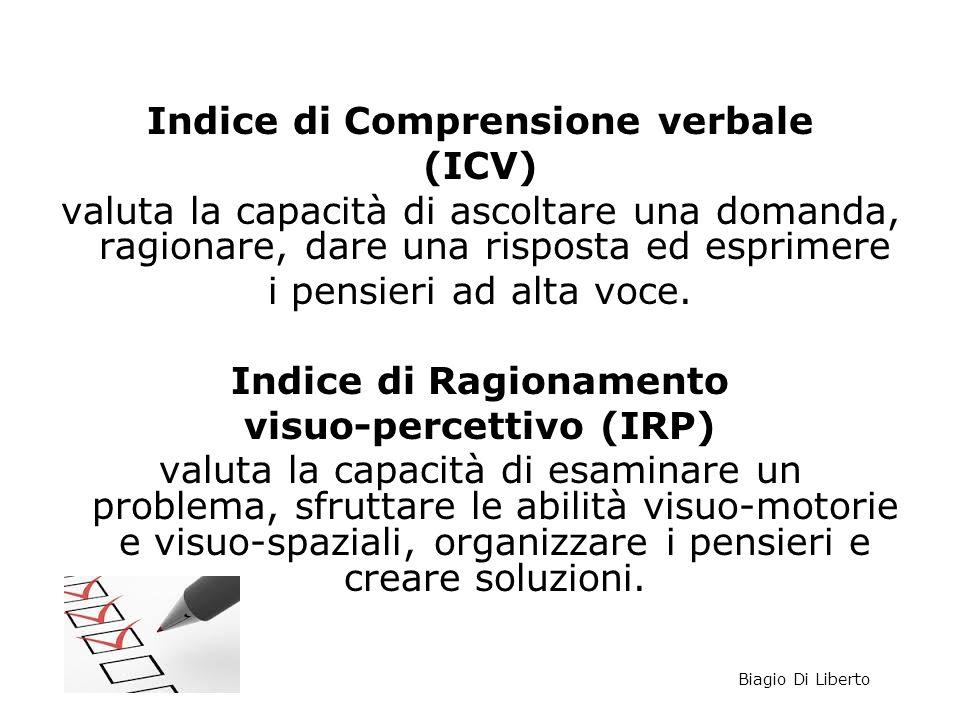 Indice di Comprensione verbale (ICV) valuta la capacità di ascoltare una domanda, ragionare, dare una risposta ed esprimere i pensieri ad alta voce. I