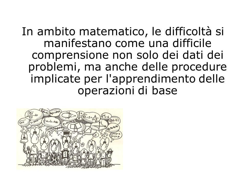 In ambito matematico, le difficoltà si manifestano come una difficile comprensione non solo dei dati dei problemi, ma anche delle procedure implicate