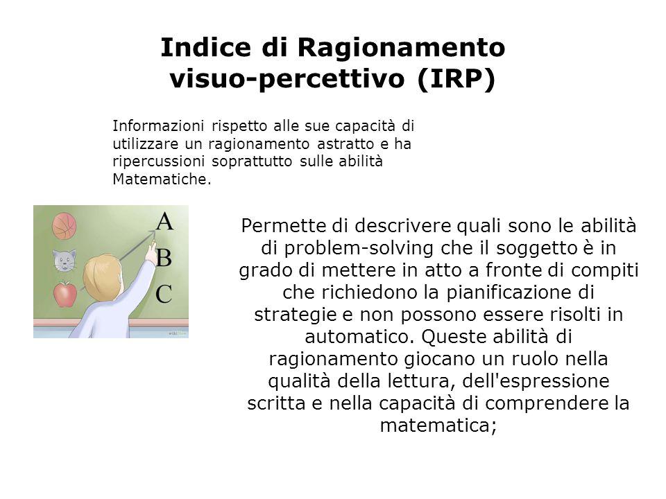 Indice di Ragionamento visuo-percettivo (IRP) Informazioni rispetto alle sue capacità di utilizzare un ragionamento astratto e ha ripercussioni soprat