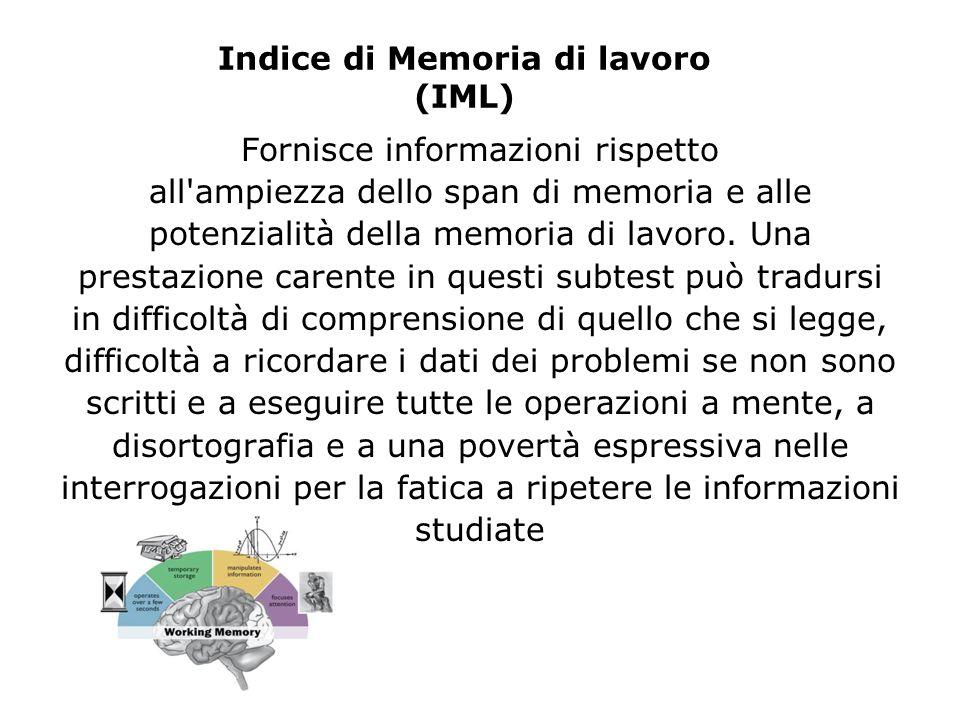 Indice di Memoria di lavoro (IML) Fornisce informazioni rispetto all'ampiezza dello span di memoria e alle potenzialità della memoria di lavoro. Una p