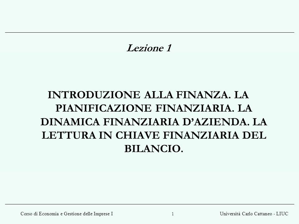 Corso di Economia e Gestione delle Imprese IUniversità Carlo Cattaneo - LIUC 1 Lezione 1 INTRODUZIONE ALLA FINANZA.