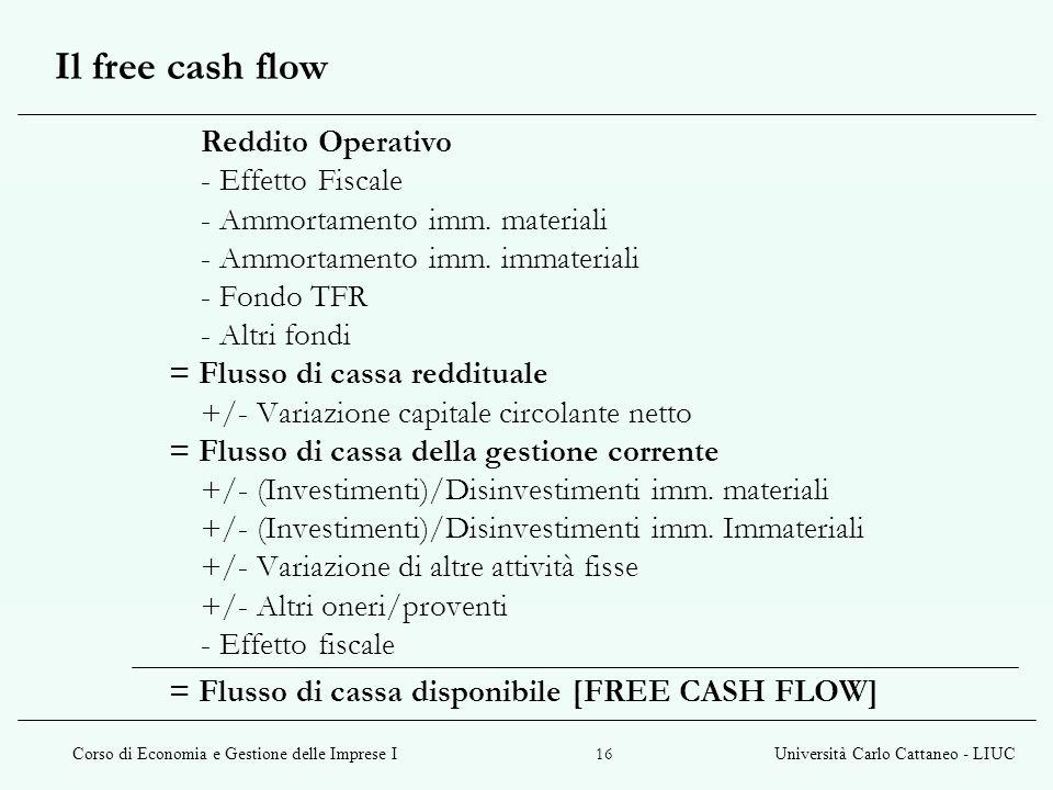 Corso di Economia e Gestione delle Imprese IUniversità Carlo Cattaneo - LIUC 16 Il free cash flow Reddito Operativo - Effetto Fiscale - Ammortamento imm.