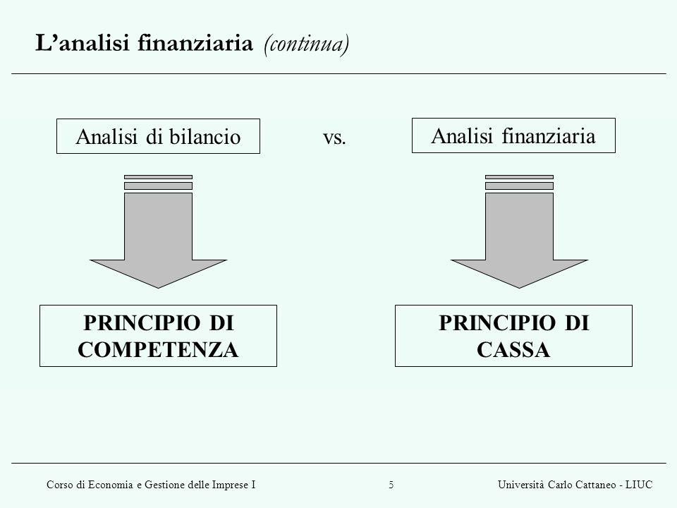Corso di Economia e Gestione delle Imprese IUniversità Carlo Cattaneo - LIUC 5 L'analisi finanziaria (continua) Analisi di bilancio Analisi finanziaria vs.