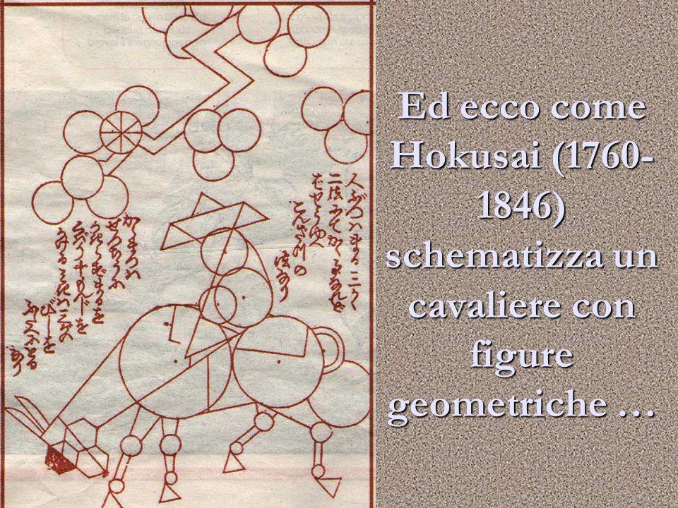 Ed ecco come Hokusai (1760- 1846) schematizza un cavaliere con figure geometriche …