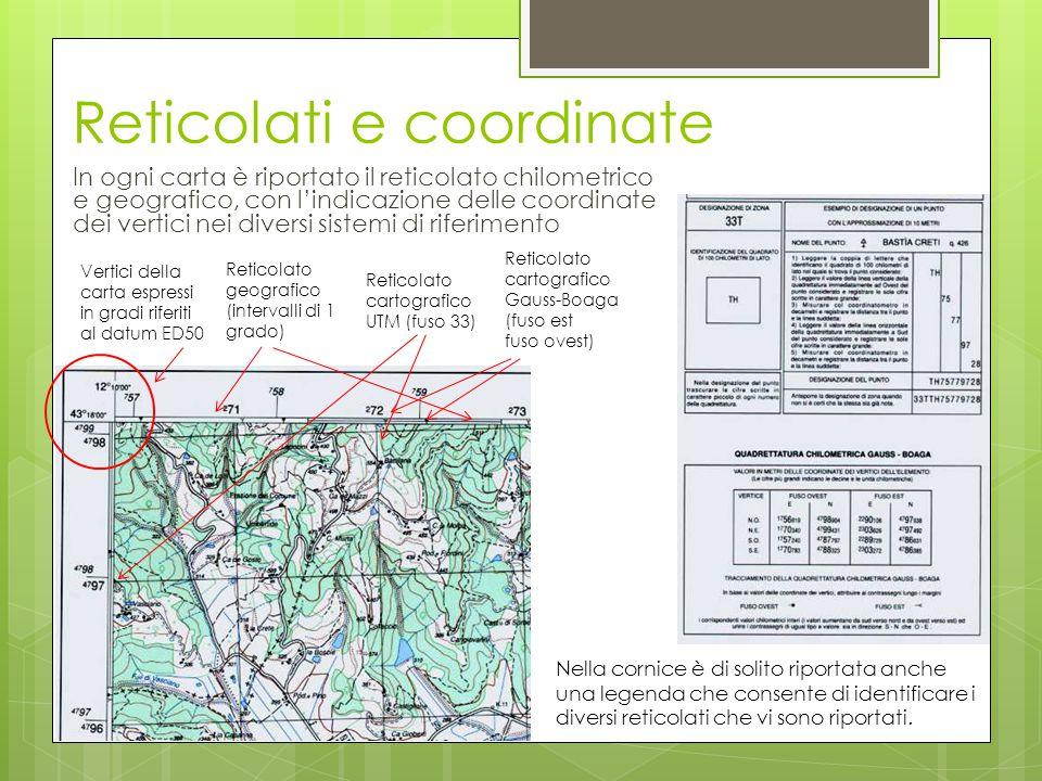 Reticolati e coordinate In ogni carta è riportato il reticolato chilometrico e geografico, con l'indicazione delle coordinate dei vertici nei diversi