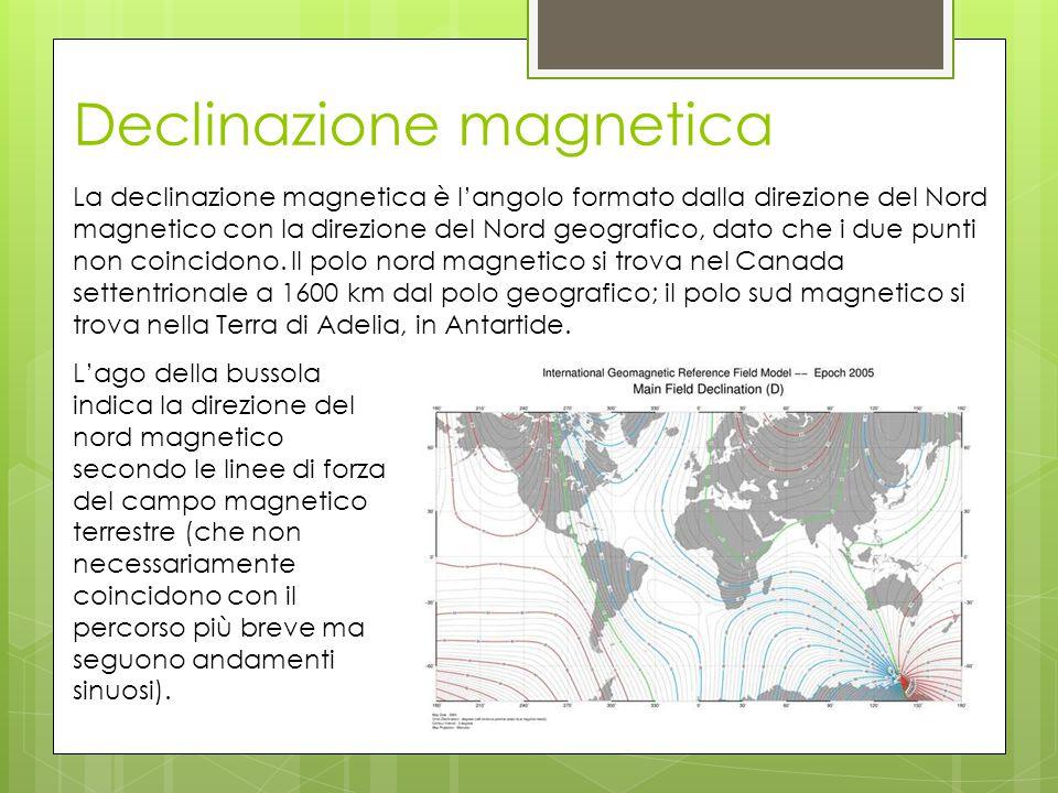 Declinazione magnetica La declinazione magnetica è l'angolo formato dalla direzione del Nord magnetico con la direzione del Nord geografico, dato che