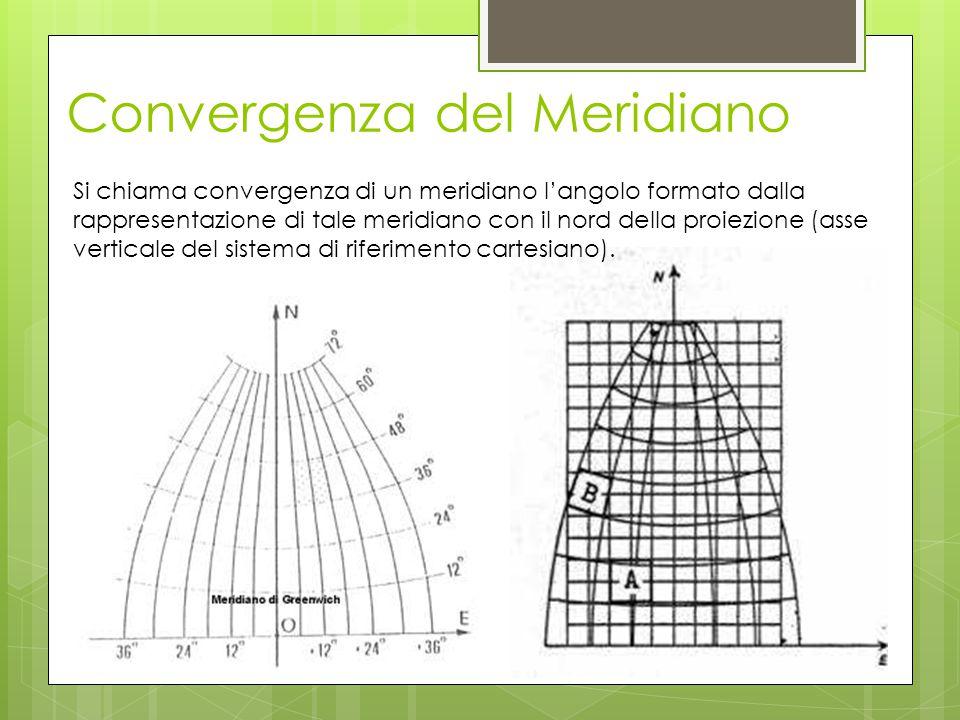 Convergenza del Meridiano Si chiama convergenza di un meridiano l'angolo formato dalla rappresentazione di tale meridiano con il nord della proiezione