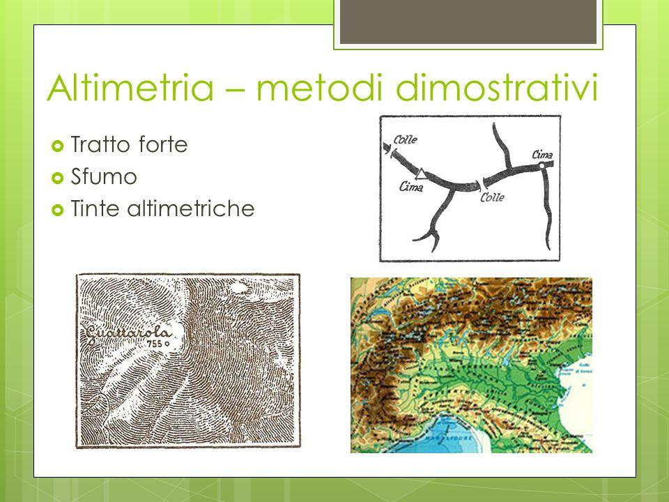  Tratto forte  Sfumo  Tinte altimetriche Altimetria – metodi dimostrativi