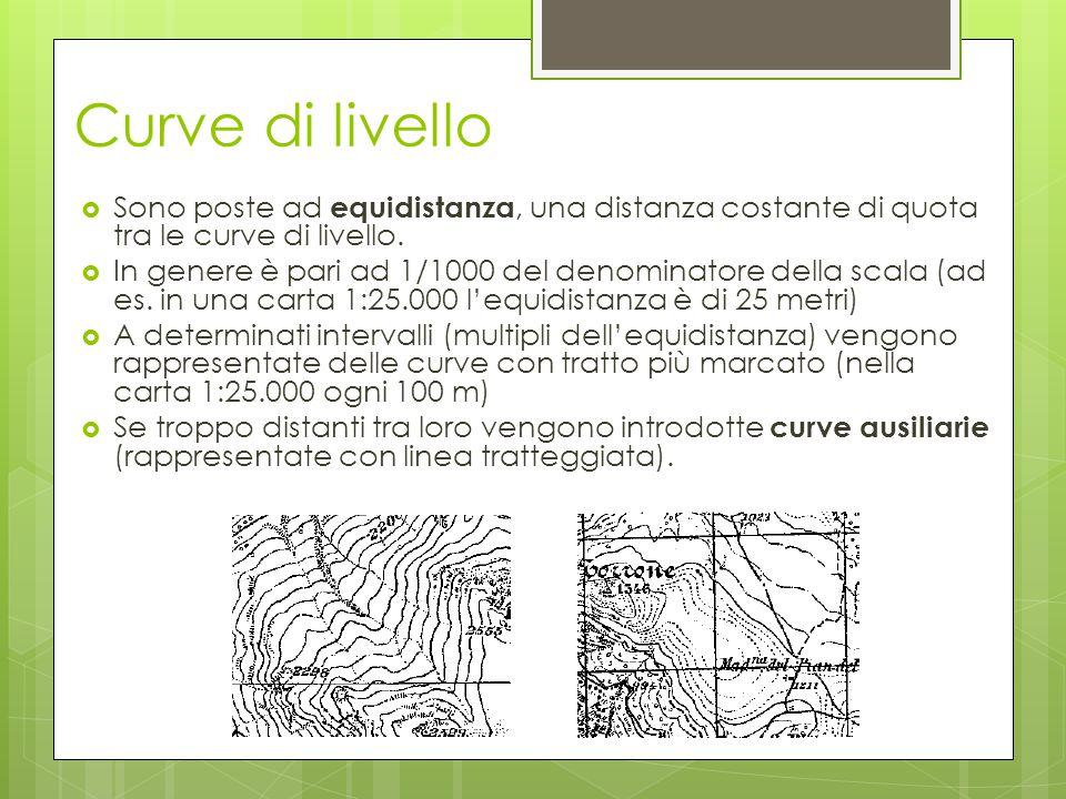 Curve di livello  Sono poste ad equidistanza, una distanza costante di quota tra le curve di livello.  In genere è pari ad 1/1000 del denominatore d