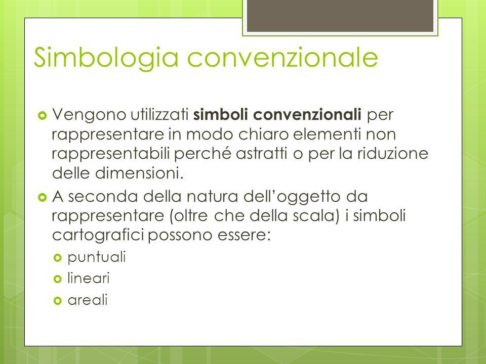 Simbologia convenzionale  Vengono utilizzati simboli convenzionali per rappresentare in modo chiaro elementi non rappresentabili perché astratti o pe