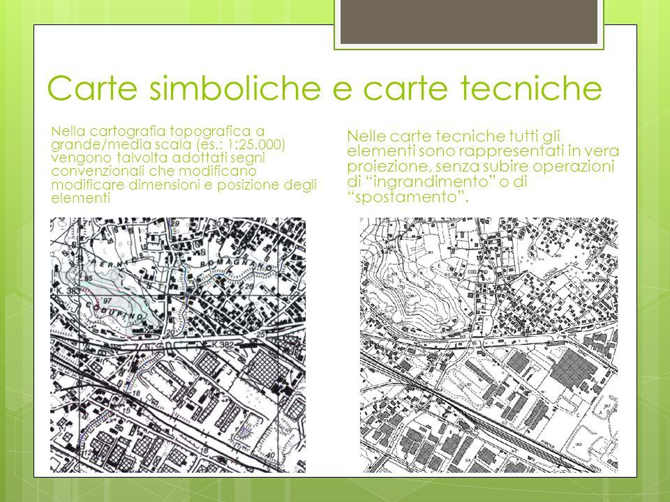 Carte simboliche e carte tecniche Nella cartografia topografica a grande/media scala (es.: 1:25.000) vengono talvolta adottati segni convenzionali che
