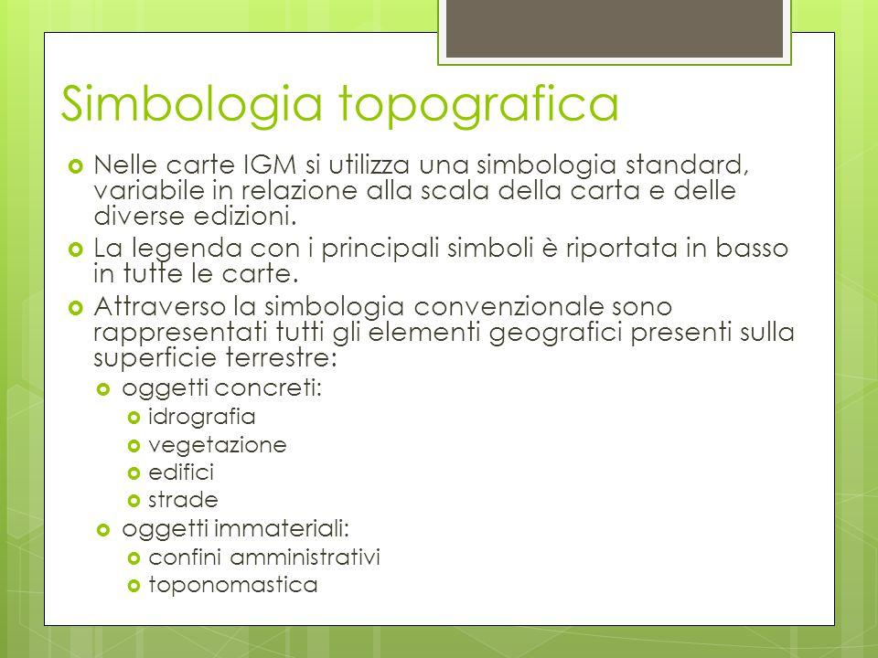 Simbologia topografica  Nelle carte IGM si utilizza una simbologia standard, variabile in relazione alla scala della carta e delle diverse edizioni.