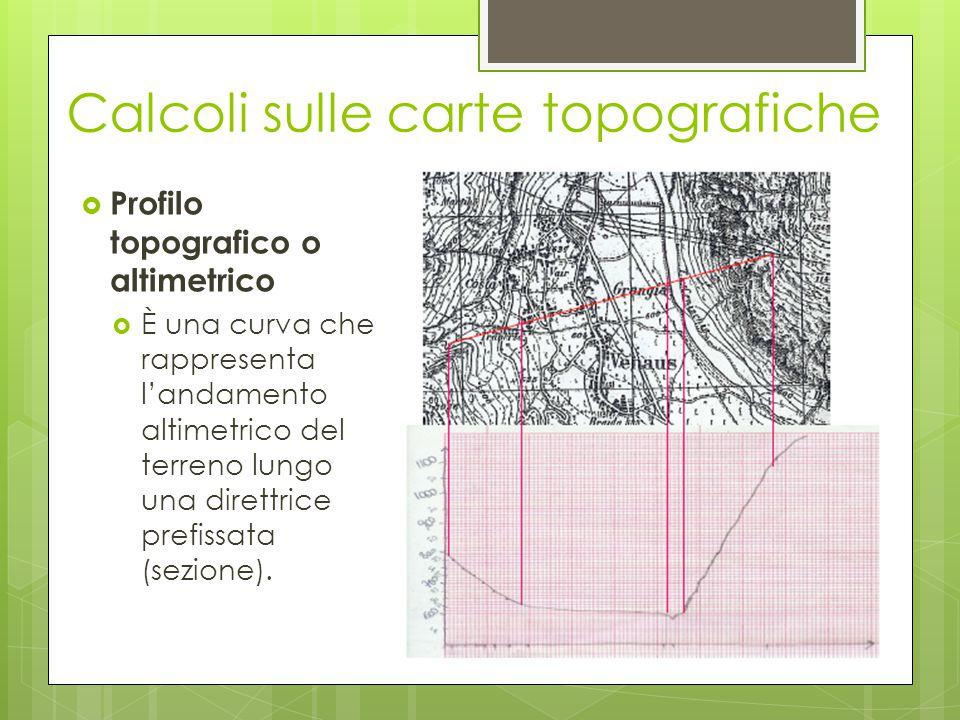  Profilo topografico o altimetrico  È una curva che rappresenta l'andamento altimetrico del terreno lungo una direttrice prefissata (sezione). Calco