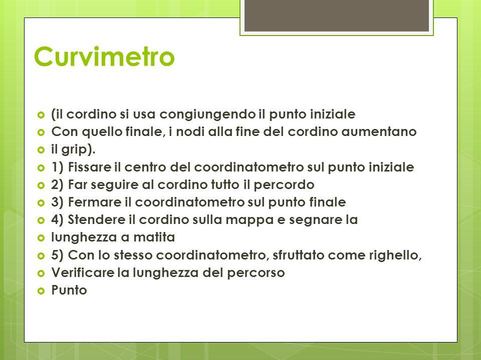 Curvimetro  (il cordino si usa congiungendo il punto iniziale  Con quello finale, i nodi alla fine del cordino aumentano  il grip).  1) Fissare il