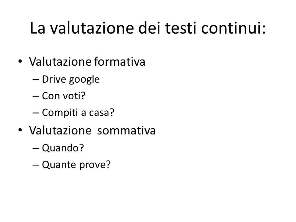 La valutazione dei testi continui: Valutazione formativa – Drive google – Con voti.