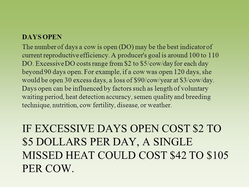 IF EXCESSIVE DAYS OPEN COST $2 TO $5 DOLLARS PER DAY, A SINGLE MISSED HEAT COULD COST $42 TO $105 PER COW. DAYS OPEN The number of days a cow is open