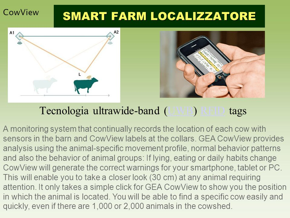 Tecnologia ultrawide-band (UWB) RFID tagsUWBRFID CowView SMART FARM LOCALIZZATORE A monitoring system that continually records the location of each cow with sensors in the barn and CowView labels at the collars.