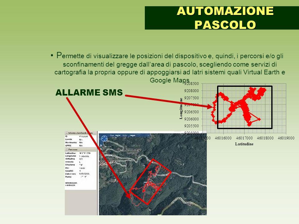 P ermette di visualizzare le posizioni del dispositivo e, quindi, i percorsi e/o gli sconfinamenti del gregge dall'area di pascolo, scegliendo come servizi di cartografia la propria oppure di appoggiarsi ad latri sistemi quali Virtual Earth e Google Maps AUTOMAZIONE PASCOLO ALLARME SMS