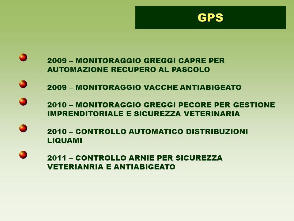 2009 – MONITORAGGIO GREGGI CAPRE PER AUTOMAZIONE RECUPERO AL PASCOLO 2009 – MONITORAGGIO VACCHE ANTIABIGEATO 2010 – MONITORAGGIO GREGGI PECORE PER GESTIONE IMPRENDITORIALE E SICUREZZA VETERINARIA 2010 – CONTROLLO AUTOMATICO DISTRIBUZIONI LIQUAMI 2011 – CONTROLLO ARNIE PER SICUREZZA VETERIANRIA E ANTIABIGEATO GPS