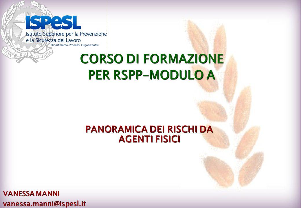 PANORAMICA DEI RISCHI DA AGENTI FISICI VANESSA MANNI vanessa.manni@ispesl.it CORSO DI FORMAZIONE PER RSPP-MODULO A