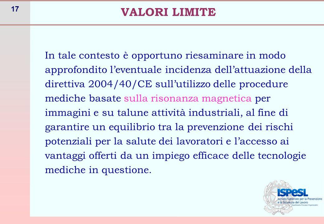 17 VALORI LIMITE In tale contesto è opportuno riesaminare in modo approfondito l'eventuale incidenza dell'attuazione della direttiva 2004/40/CE sull'u