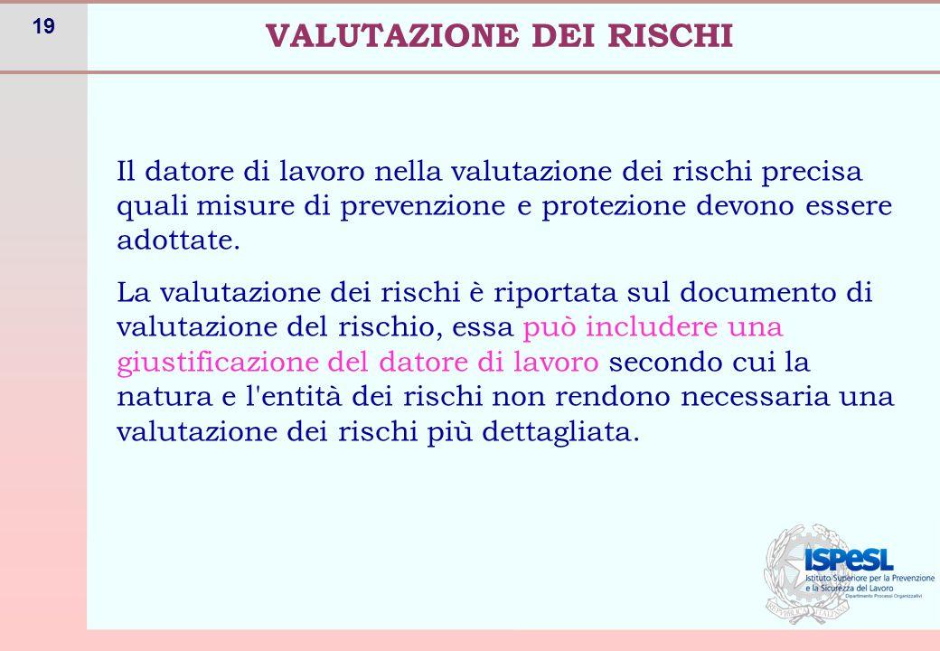 19 Il datore di lavoro nella valutazione dei rischi precisa quali misure di prevenzione e protezione devono essere adottate. La valutazione dei rischi