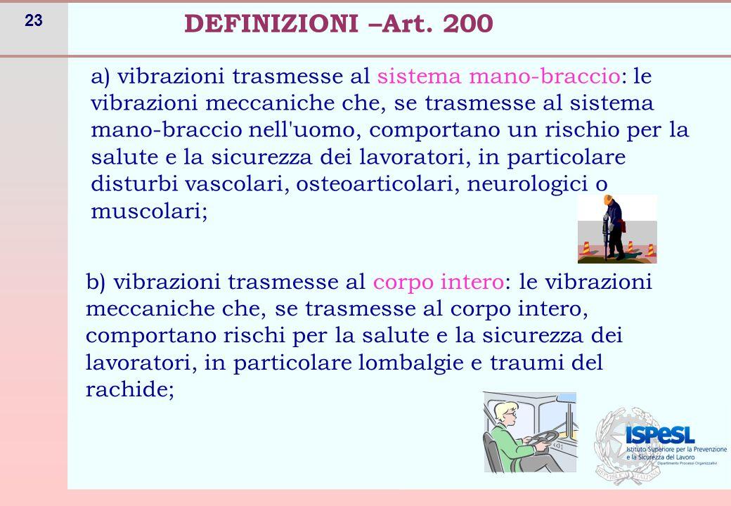 23 DEFINIZIONI –Art. 200 a) vibrazioni trasmesse al sistema mano-braccio: le vibrazioni meccaniche che, se trasmesse al sistema mano-braccio nell'uomo