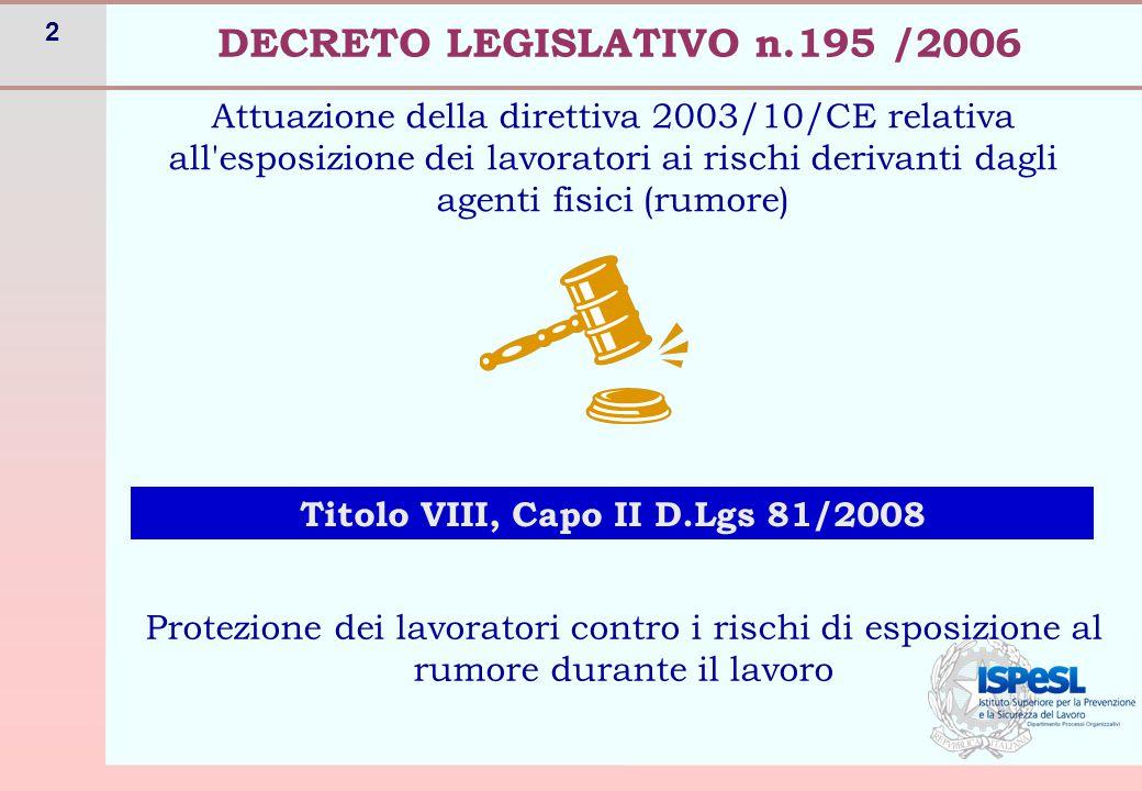 2 Attuazione della direttiva 2003/10/CE relativa all'esposizione dei lavoratori ai rischi derivanti dagli agenti fisici (rumore) DECRETO LEGISLATIVO n